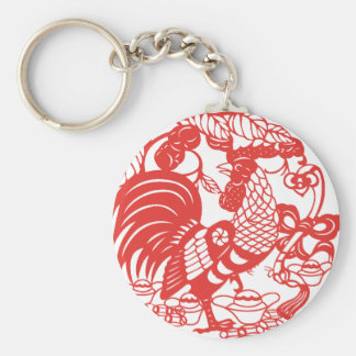 Chinese Papercut Rooster Year 2017 keychain 1