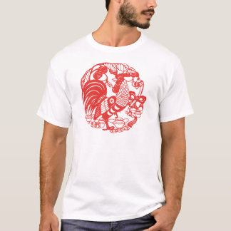 Chinese Papercut Rooster Year 2017 men W Tee