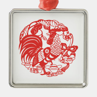 Chinese Papercut Rooster Year 2017 Ornament