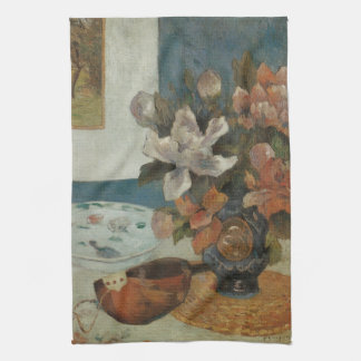 Chinese Peonies and Mandolin by Paul Gauguin Tea Towel