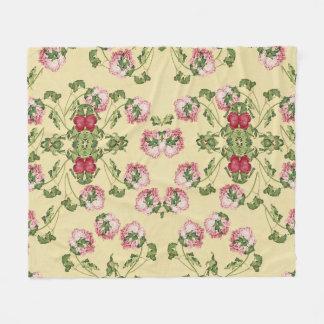 Chinese Peony Flowers Floral Fleece Blanket
