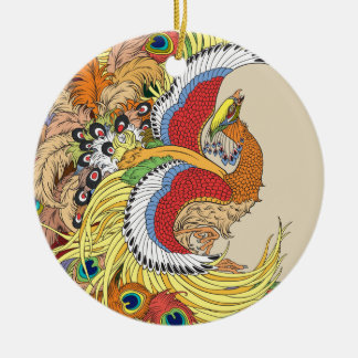 Chinese phoenix ceramic ornament