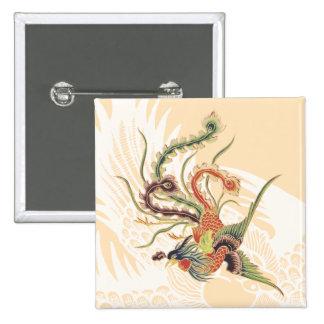 Chinese Phoenix - Fenghuang  Mythological Birds Ar 15 Cm Square Badge
