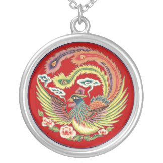 Chinese Phoenix Necklace with Red Background