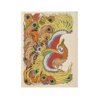 Chinese phoenox wood poster