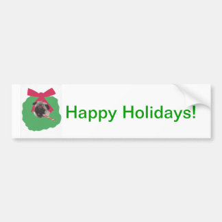 Chinese Pug Holiday Wreath Bumper Sticker