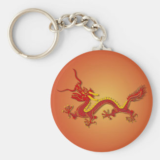 Chinese Red And Gold Dragon Keychain