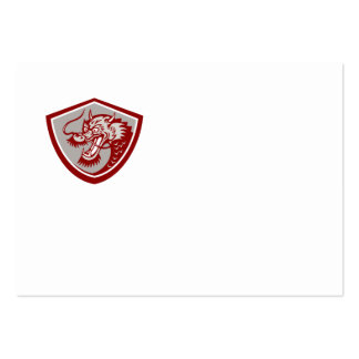 Chinese Red Dragon Head Shield Business Cards