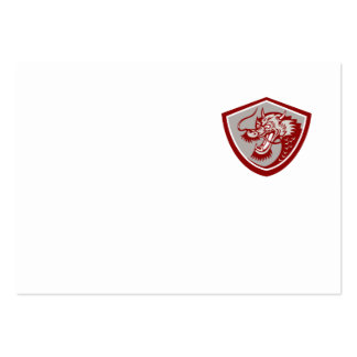 Chinese Red Dragon Head Shield Business Card