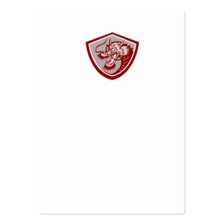 Chinese Red Dragon Head Shield Business Card Template