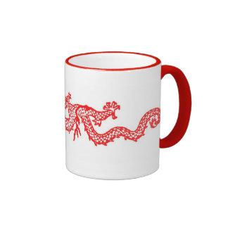 Chinese Red Dragon Ringer Coffee Mug