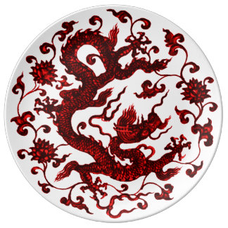 Chinese Red Dragon Plate
