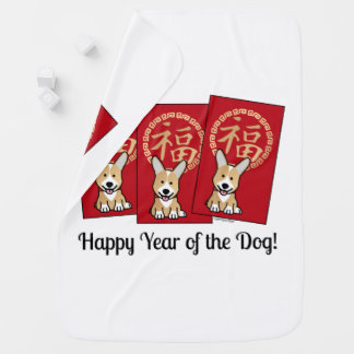 Chinese Red Envelope Lucky Corgi Year of the Dog Baby Blanket