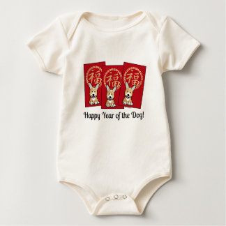 Chinese Red Envelope Lucky Corgi Year of the Dog Baby Bodysuit