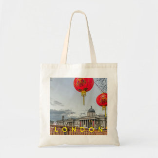 Chinese red lanterns London tote bag
