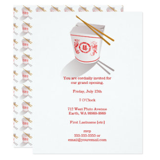 Chinese Restaurant Takeout Box Card