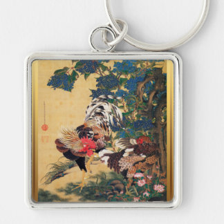 Chinese Rooster New Year 2017 Japanese Art Key Silver-Colored Square Key Ring