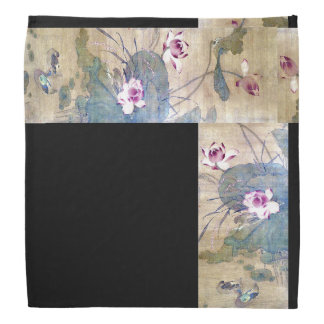 Chinese Scroll Art Lotus Flowers Ducks Bandana