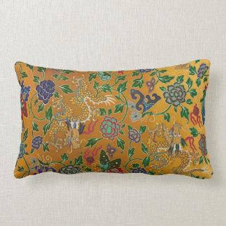 Chinese Serpent Dragon Gold Flower Pattern Vintage Lumbar Cushion