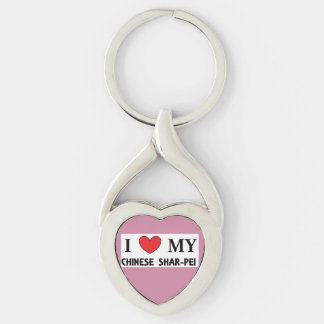 chinese shar love Silver-Colored twisted heart key ring