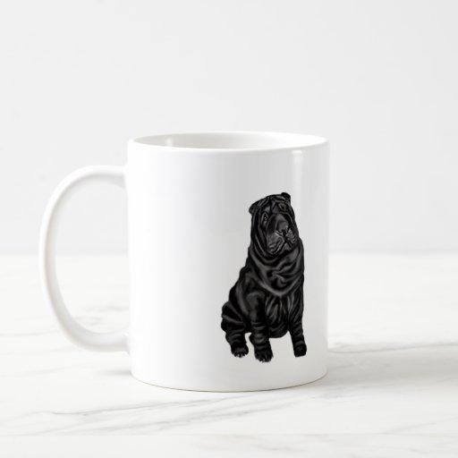 Chinese Shar Pei - black Coffee Mugs