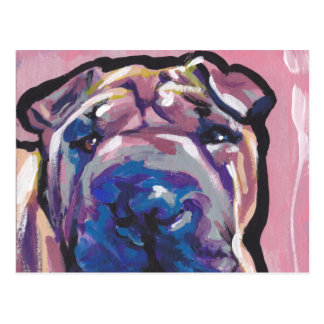 Chinese Shar Pei Dog Pop Art Postcard