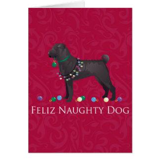 Chinese Shar Pei Feliz Naughty Dog Christmas Desgn Card