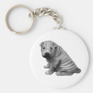 CHINESE SHAR-PEI: PENCIL REALISM: DOG KEY RING