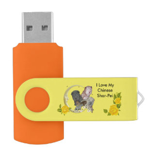 Chinese Shar-Pei Puppies with Yellow Roses USB Flash Drive