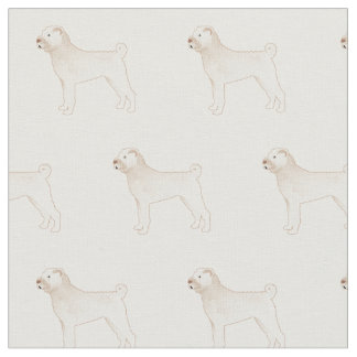 Chinese Shar-Pei Silhouette Tiled - Basic White Fabric