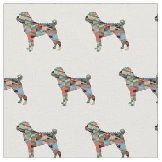 Chinese Shar-Pei Silhouette Tiled - Plaid Fabric