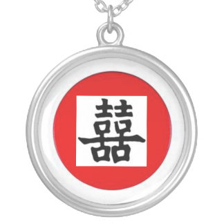 Chinese sign dubbelgeluk round pendant necklace