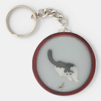Chinese Silk Cat Picture Key Ring