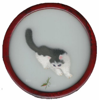 Chinese Silk Cat Picture Standing Photo Sculpture