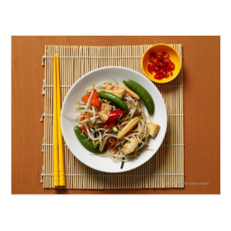 Chinese stir fried vegetables with chillies postcard