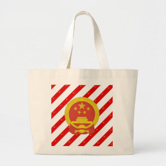 Chinese stripes flag large tote bag