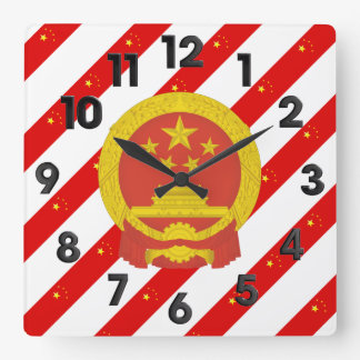 Chinese stripes flag square wall clock