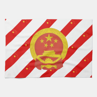 Chinese stripes flag tea towel