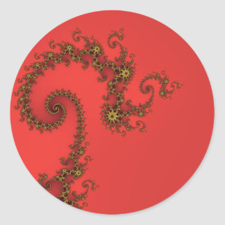 Chinese style golden dragon effect fractal on red. round sticker