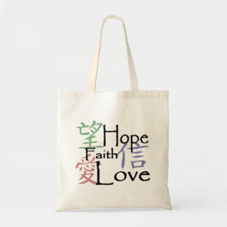 Chinese symbols for love, hope and faith tote bag