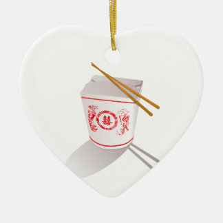 Chinese Take Out Food Box with Chopsticks Ceramic Heart Decoration