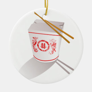 Chinese Take Out Food Box with Chopsticks Round Ceramic Decoration
