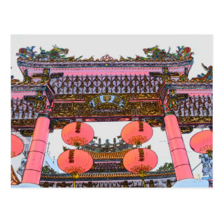 Chinese Temple Gate Postcard