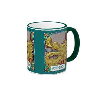 Chinese temple golden dragon ringer coffee mug