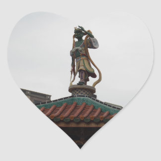 Chinese Temple Statue Heart Sticker