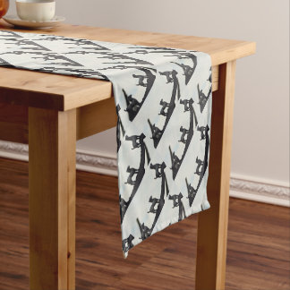 Chinese Terracotta Dogs Silhouetted On a Roof Short Table Runner