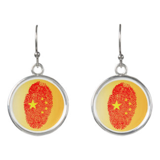 Chinese touch fingerprint flag earrings