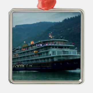 Chinese tourist boat in river Yangtz Silver-Colored Square Decoration