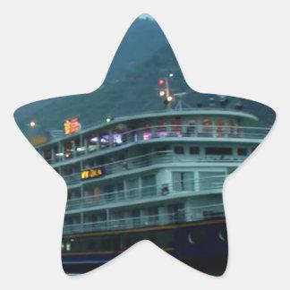 Chinese tourist boat in river Yangtz Star Sticker