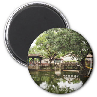 Chinese traditional corridor and courtyard 6 cm round magnet